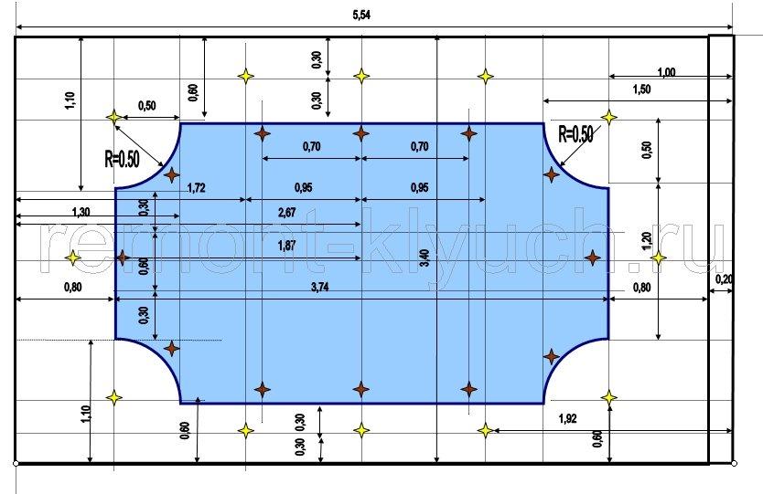 схема потолков большой комнаты