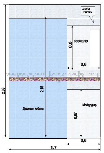 схема укладки плитки в ванной.